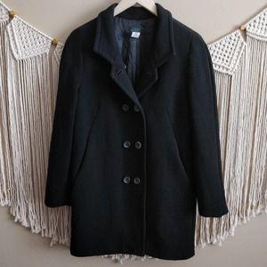 J. CREW Black Wool Double Breasted Long Peacoat 10